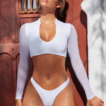 White High Cut Two-Piece Long Sleeve Bikini
