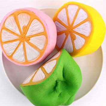 1pc Cute fruit Slow Rising Decoration charm Scented Bag parts Jumbo Squishy lemon Soft &Ornament kid toy gift Accessories