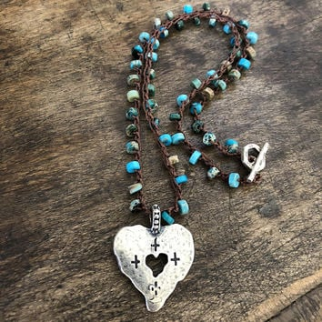 Boho Heart Jewelry Turquoise Jewelry Boho Necklace Boho Silver Jewelry Bohemian Necklaces Boho Jewelry Rustic Jewelry TwoSilverSisters