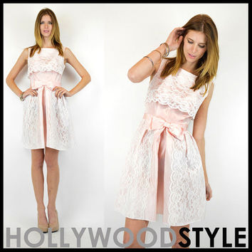 Vintage 60s mod Pink Taffeta White Lace Spring Tea party Wedding Cocktail Dress