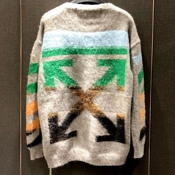Free Shipping / OFF-WHITE pullover grey sweater