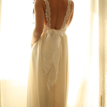 Wedding Dress Bustier Chiffon And Lace- In The Month Of July Gown
