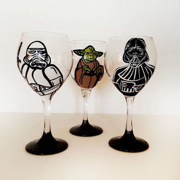 star wars wine glasses - set of 3 - hand painted - 20 oz