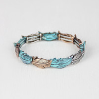 Colorblock Leaves Stretch Bracelet