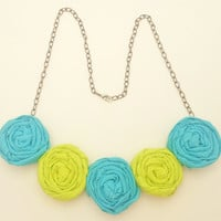 Aqua Blue and Lime Rosette Bib Necklace - Rolled Fabric Flower Necklace - Jewelry for Weddings, Birthdays, Everyday