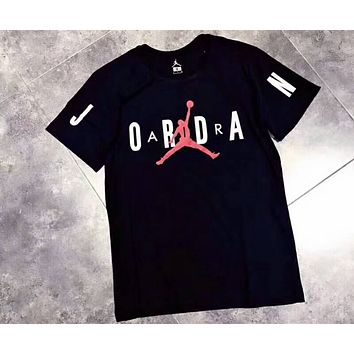 AIR JORDAN 2018 new couple leisure casual T-shirt F-CN-CFPFGYS black