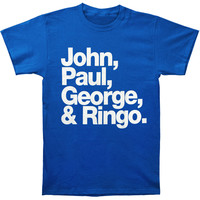 Beatles Men's  John, Paul, George & Ringo T-shirt Blue Rockabilia