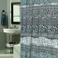 Snow Leopard Faux Fur-Trimmed Shower Curtain