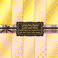 Trendy Gold and Pink Scrapbook, Gold and Pink paper, gold foil paper, pink and gold paper, digital scrapbook paper - Commercial Use OK