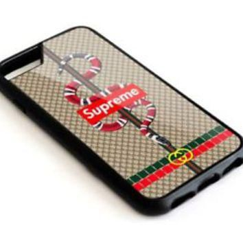 New Supreme Snake Logo Brown iPhone 6 6s 7 7+ 8 8+ Hard Plastic Case