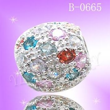 925 Sterling Silver CZ Color Marble Pendant B0665