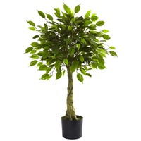 SheilaShrubs.com: 3' Ficus Tree UV Resistant (Indoor/Outdoor) 5383 by Nearly Natural : Indoor Garden Decor Silk Trees & Plants