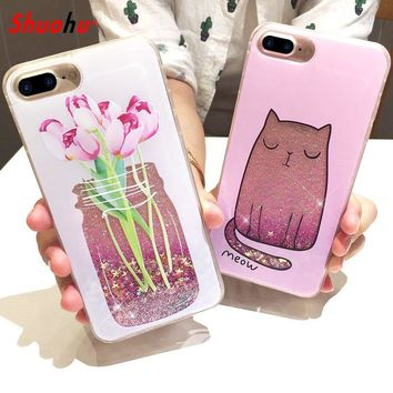 Shuohu Perfume Bottle Quicksand Dynamic Liquid Phone Case for Iphone 6 6S 7 Plus Case Luxury Silicone Cat Flower Cartoon Cover