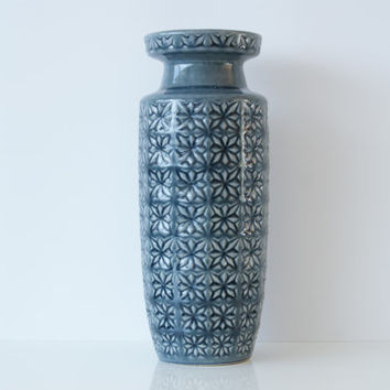 Large WEST GERMAN Pottery Vase, Scheurich, Prisma Design, WGP, 261-30, Dusky Mid Blue, Midcentury Fat Lava, Made in Germany in 1960s