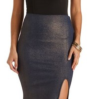 Glitter-Coated Bodycon Pencil Skirt by Charlotte Russe - Navy Blue