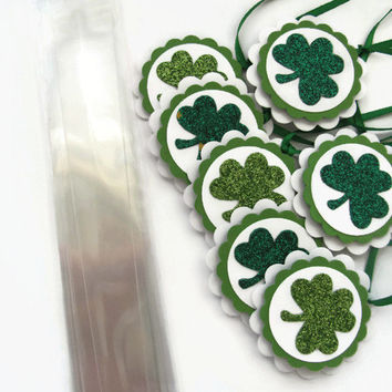 St Patrick's Day Party Favors ,M&M Candy Bags With Shamrock Tags, Shamrock Party Favors, Green