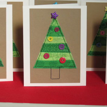 Fabric Quilted Christmas Tree Card
