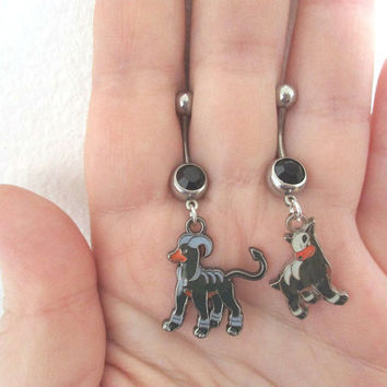 Pokémon Bellybutton Piercings - HOUNDOUR & HOUNDOOM -  OFFICIAL Pokémon Center Charm - Belly iridescent botton jewelry -