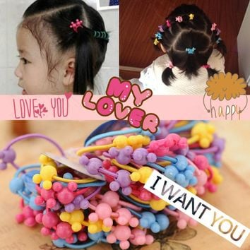 50pcs/bag 35mm Cartoon Candy Colored Child Baby Kids Ponytail Holders Hair Accessories For Girl Rubber Band Tie Gum (Mix Color)