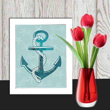 Anchor print Beach art print Teal Nautical print Beach house decor Turquoise Anchor wall decor Sea wall art Gift idea INSTANT DOWNLOAD