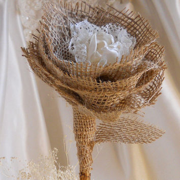 "1 Large 17"" Tall Burlap Peony Flower Stem for weddings, table decor, centerpieces. Burlap, lace and natural twig stem."