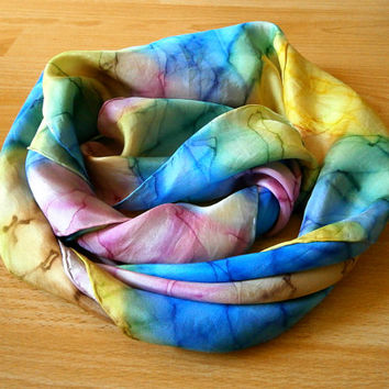 Vintage Silk Scarf - Hand Painted Abstract Pastel Rainbow