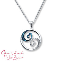 Open Hearts Waves Blue/White Diamonds Sterling Silver Necklace