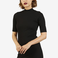 Lonna Ribbed Mock Neck Dress - Black