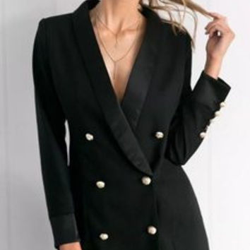 Fashion 2016 Trending Fashion Solid Button Double Buttoned Business Casual Suit  Sweater Cardigan Coat Jacket Outerwear _ 9488