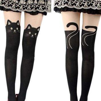 Fashion Gifts Womens Silk Stockings Pantyhose Ribbed Over Cute Tattoo Tights Women Sexy Slim Women's Tights