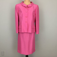 RESERVED For TERI Skirt Suit 60s Style Suit Jackie Kennedy Style Dress Mother of Bride Dressy Suit Silk Bright Pink Size 12 Large