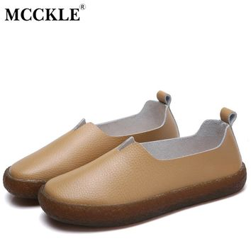 MCCKLE Flats Women Genuine Leather Slip On Loafers Shallow Plus Size Fashion Female Shoes For Ladies Comfortale Solid Footwear