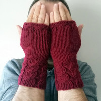 Men Gloves, Knit Mittens, Gloves,Bordeaux Gloves, Long Men Gloves, Handmade, Crochet, Hand Warmer, Winter Gloves, Gift Ideas