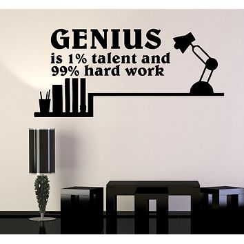 Wall Decal Genius Talent Words Quotes Motivation Inspiration Science Vinyl Sticker (ed1475)