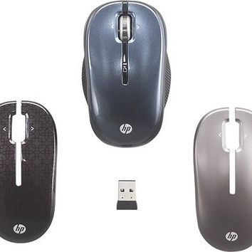 HP 2.4GHz Wireless Optical Mobile Mouse w/ Top Covers, Black/Blue/Bronze, Refurb
