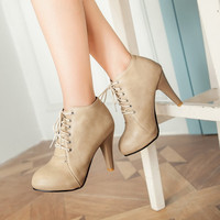 Lace Up Ankle Boots Dress Shoes Cone Heel 5083