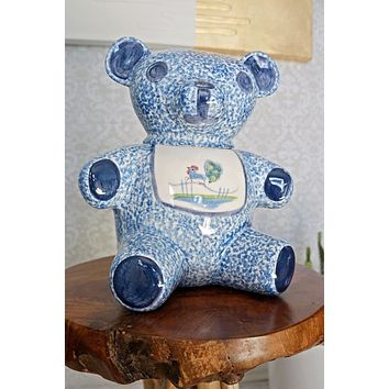 Vintage 1970s Spongeware + Teddy Bear Cookie Jar