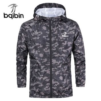 3XL Plus Size Spring Mens Casual Camouflage Hoodie Jacket Men Waterproof Clothes Men's Windbreaker Coat Male Outwear