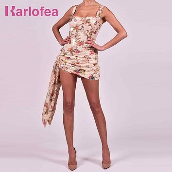Karlofea Office Lady Slim Wrap Dresses Sexy Ruched Glitter Sequined Club Night Party Wear Chic Draped Gorgeous Outfits Sundress