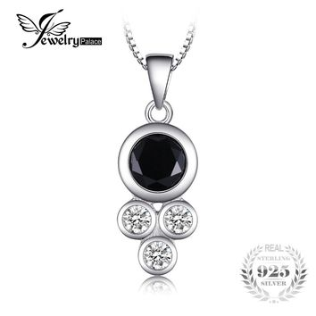 JewelryPalace Succinct 1.9ct Created Black Spinel Bezel Setting Round Pendant Necklaces Women 925 Sterling Silver 45cm Box Chain