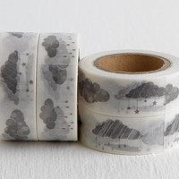 Gray Raincloud Washi Tape, Monochrome Grayscale, Stormy Dreary, 15mm