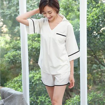 The new spring and summer 2017 Japanese contracted wind loose pajamas 2 woolly ms han edition fashion leisure wear pajamas
