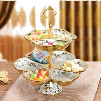 Tier Fruit Bowl - Cake Stand, Creative Ceramic European Style, Suitable for Party,Wedding,Home Decor