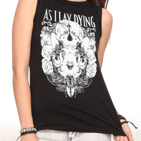 As I Lay Dying Skulls Slash Sleeveless Girls T-Shirt | Hot Topic