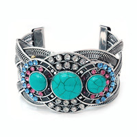 Turquoise Stone Cuff Bracelet w/ Rhinestone Accents - BL/PK/CL Rhinestones Color: Blue/Pink/Clear Rhinestones