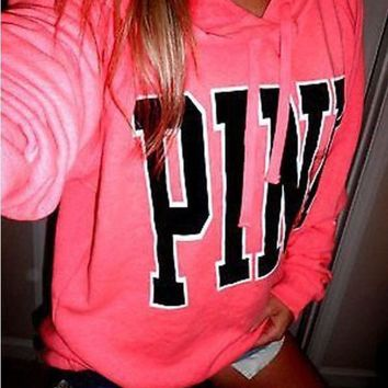 Pink' Victoria's Secret Print Pattern Long Sleeve Hoodie Sweatshirt