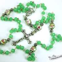 Green Rosary confirmation gift catholic rosary girls rosaries jade rosary communion rosaries baptism rosary boys rosaries ladies rosary