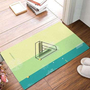 Autumn Fall welcome door mat doormat Modern Penrose Triangle Stripe Dot Waves Green And Yellow s Kitchen Floor Bath Entrance Rug Mat Absorbent Indoor Rubber AT_76_7