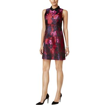 Ivanka Trump Womens Collared Floral Print Casual Dress