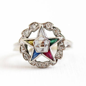 Vintage OES Ring - 14k White Gold Order of the Eastern Star Diamond Halo - Size 6 Enamel & Lab Created Stones Laurel Wreath Fine Jewelry